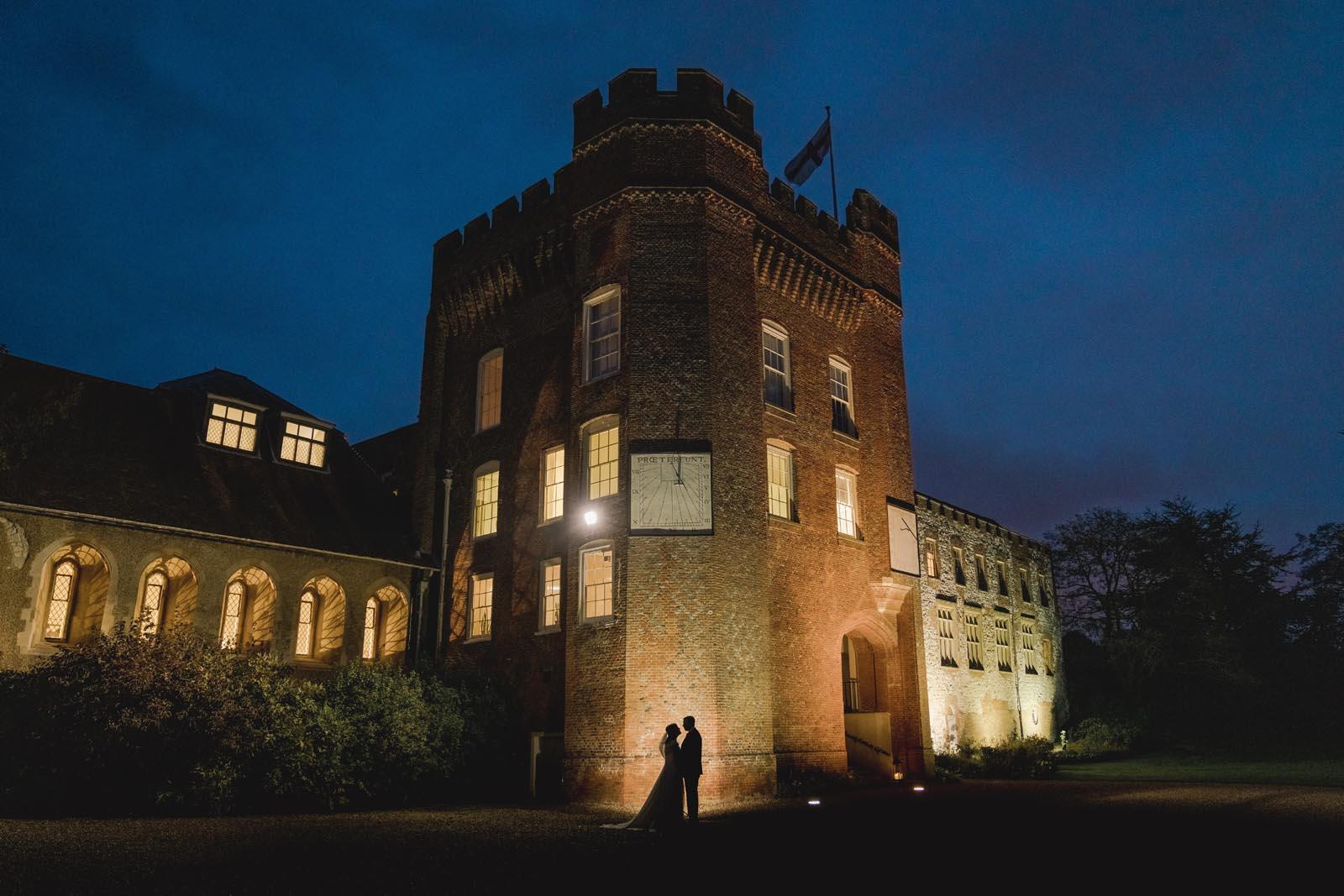 Farnham Castle lit up at night