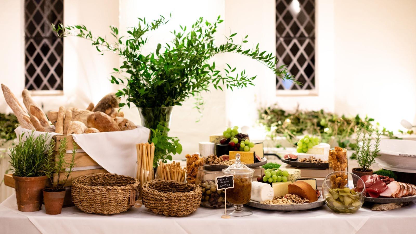 Wedding reception food at Farnham Castle