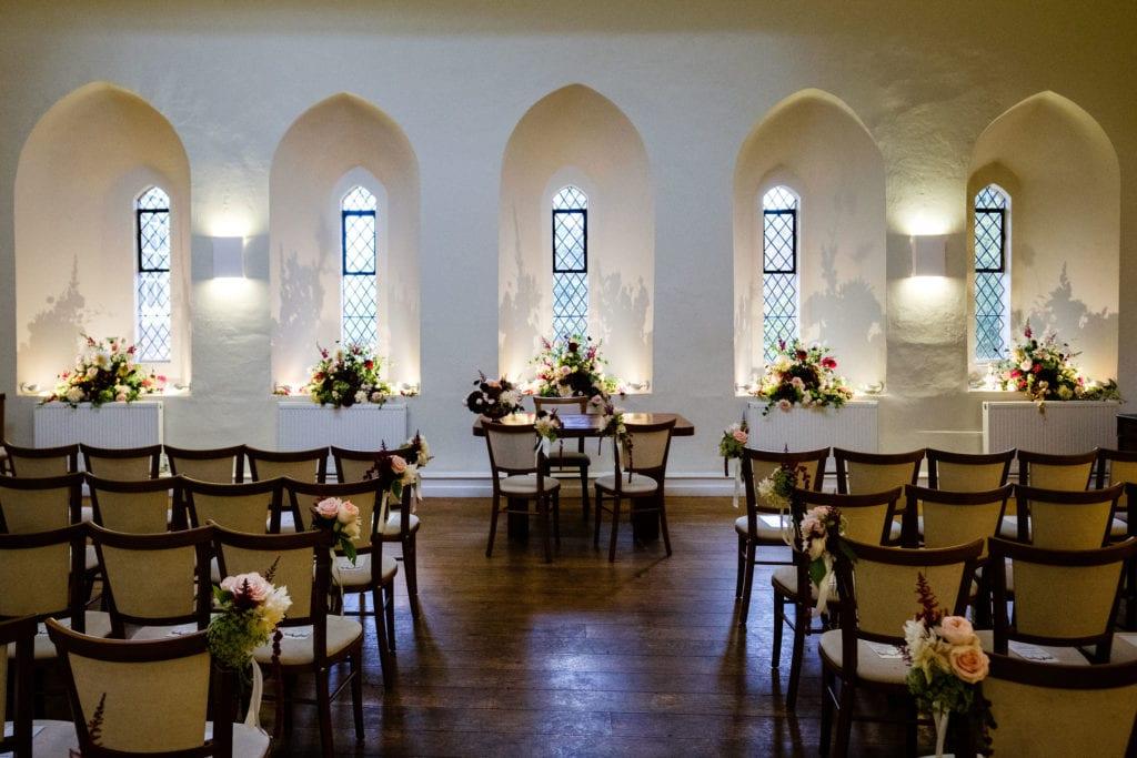 Wedding ceremony room Farnham Castle