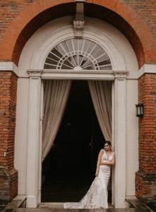 Elegant lace castle wedding dress