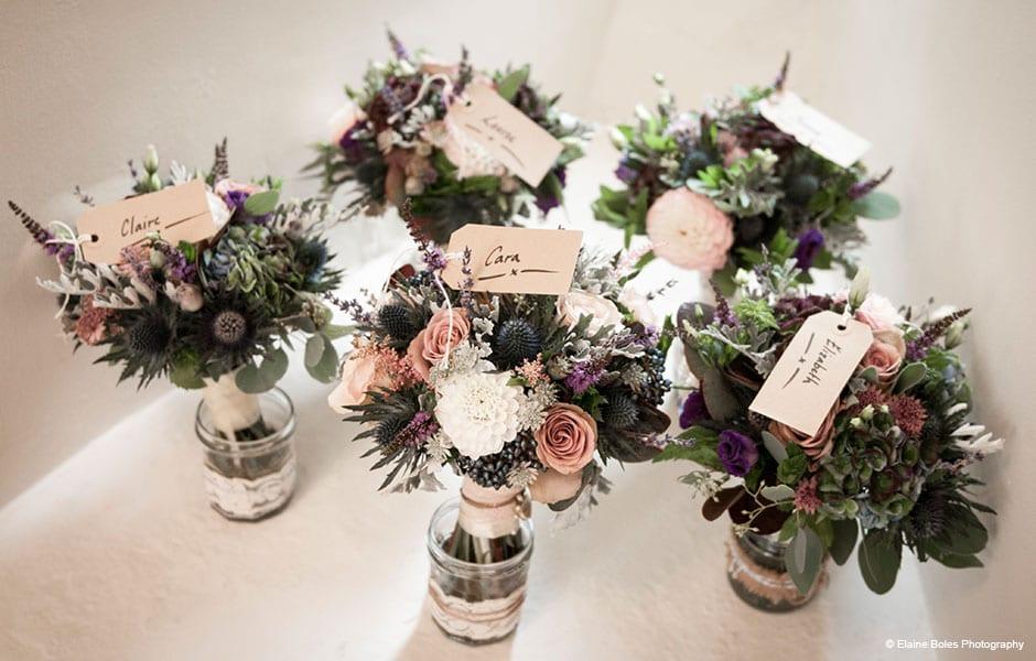 winter wedding flowers at Farnham Castle - Elaine Boles Photography