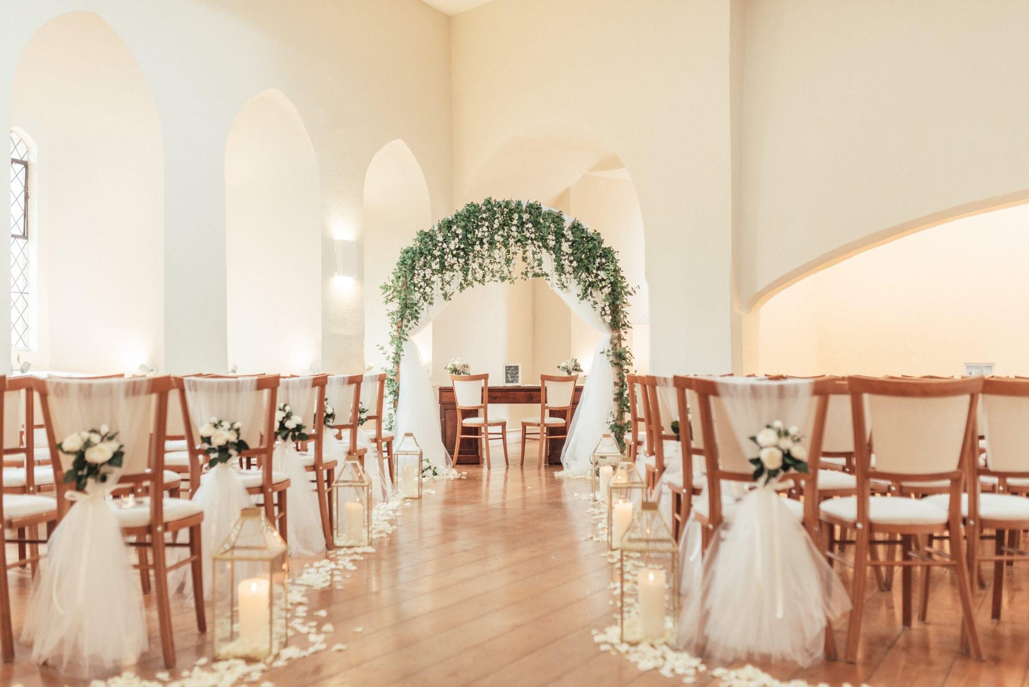Wedding ceremony at Farnham Castle in Surrey