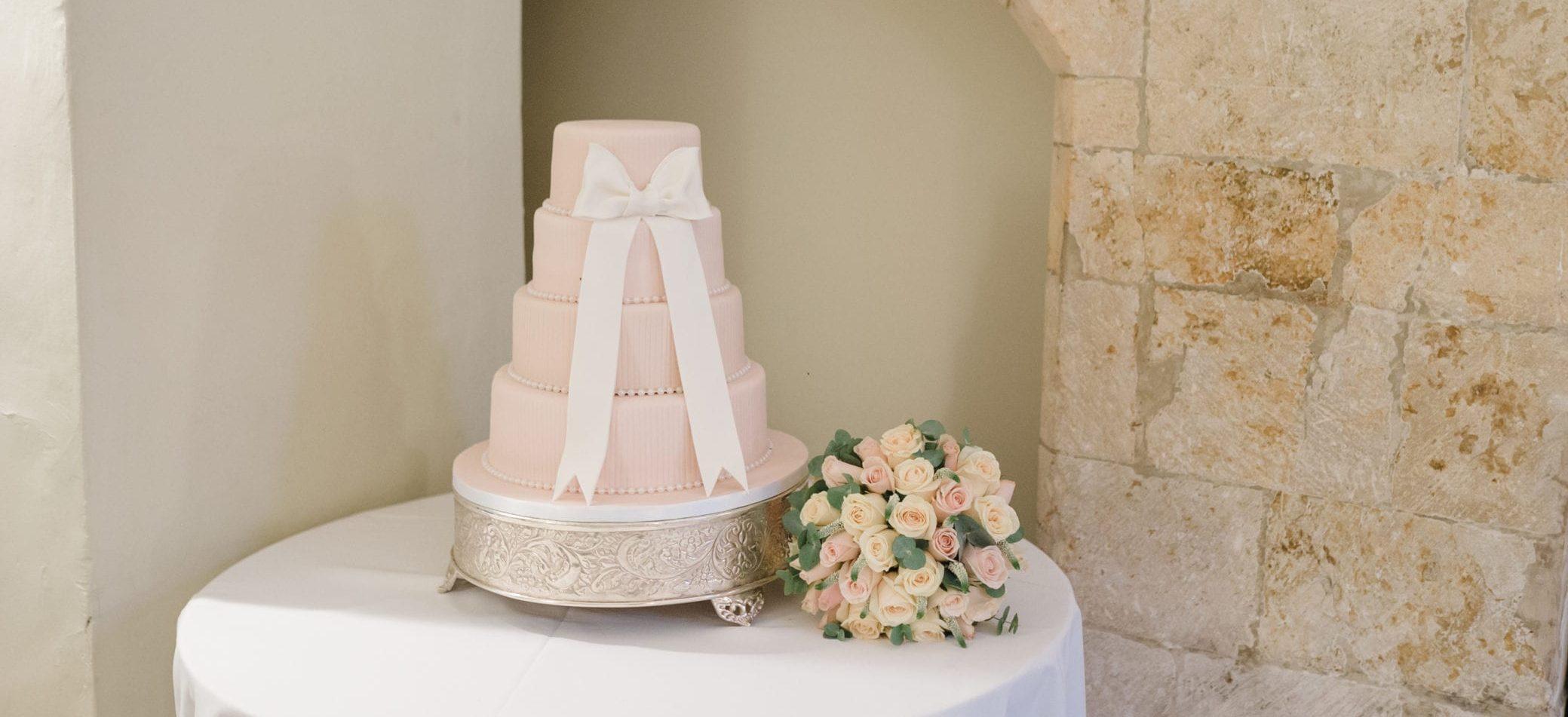 Pretty wedding cake at Farnham Castle in Surrey