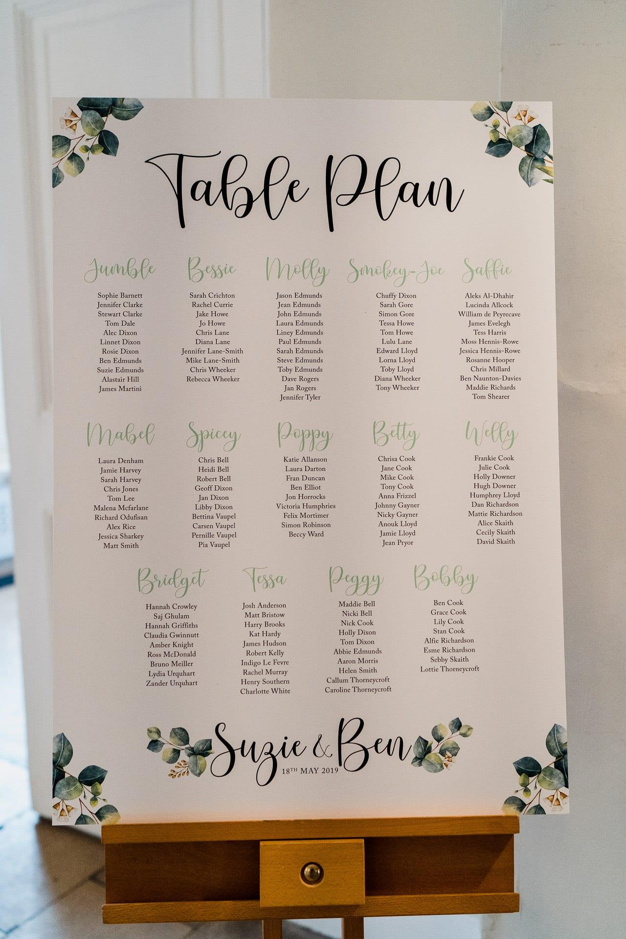 Unique printed wedding table plan