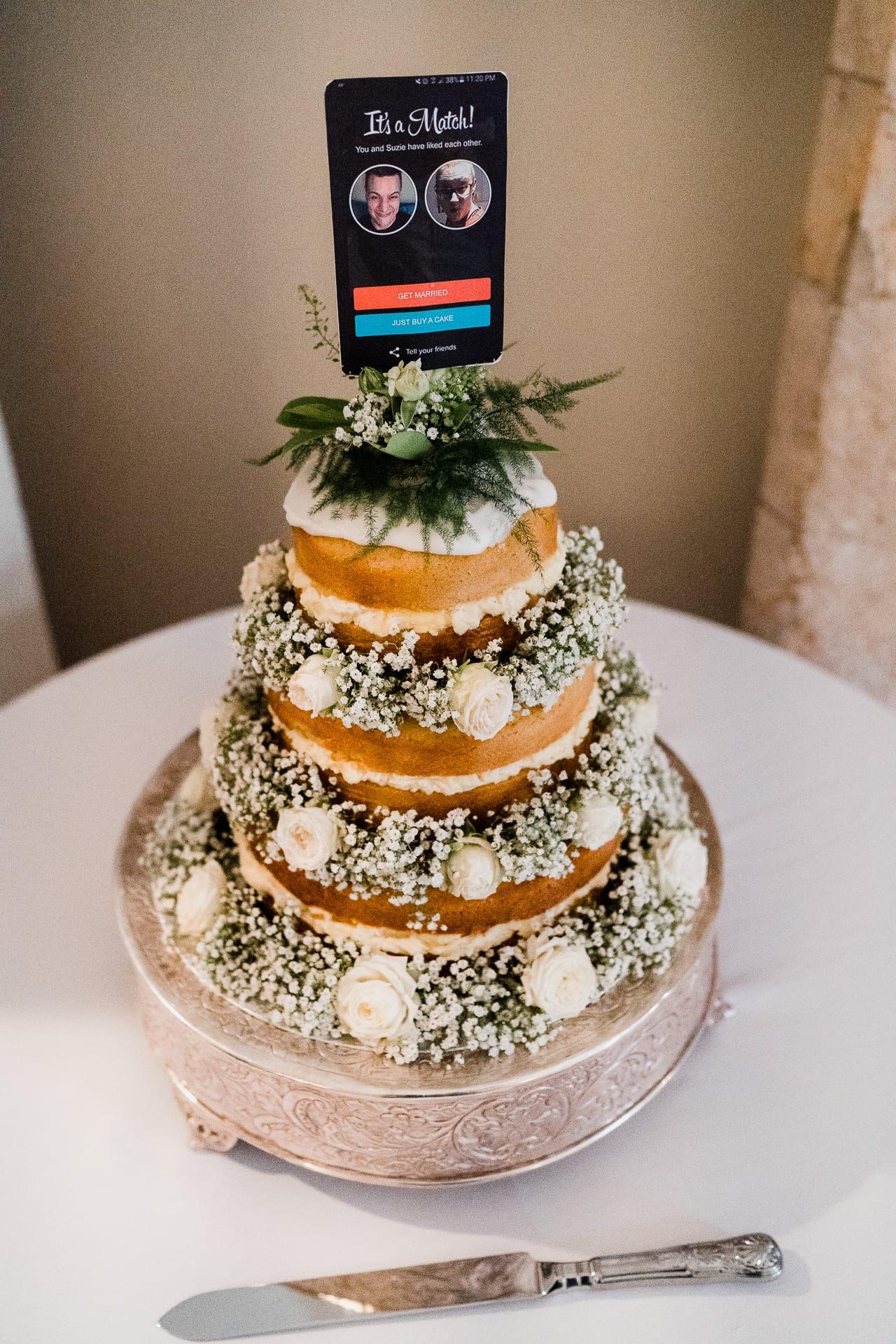 Cream filled wedding cake
