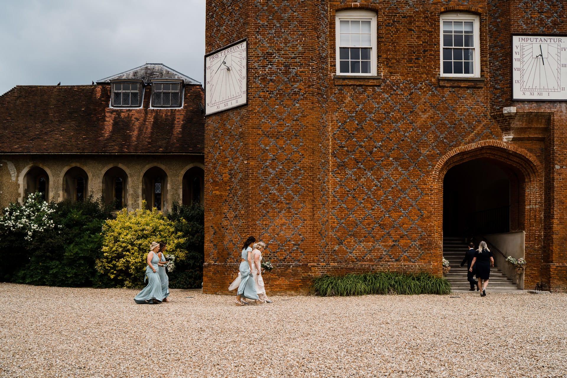 Bridal party at Farnham Castle in Surrey