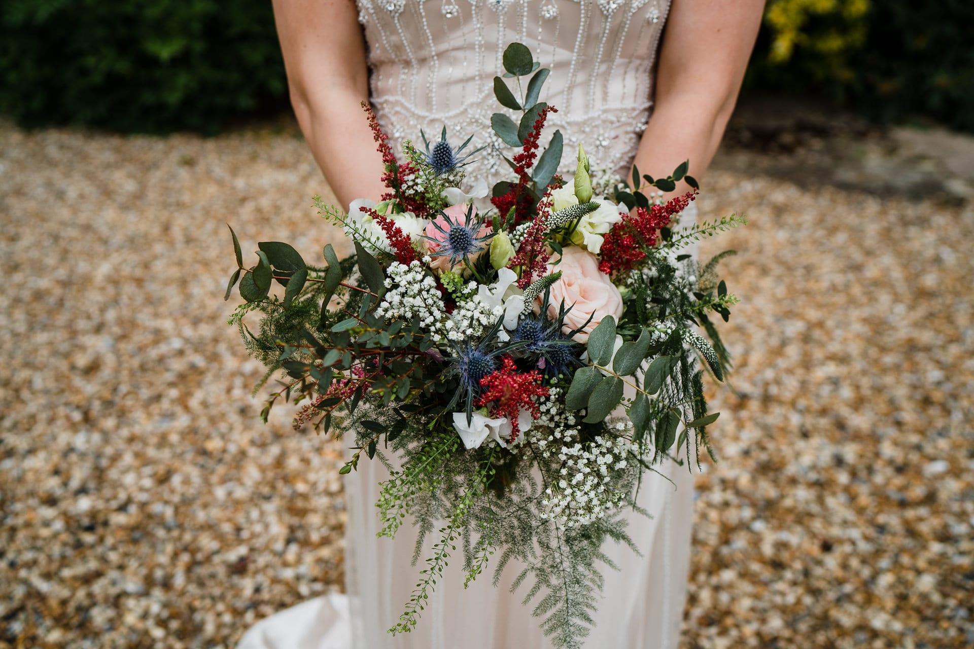 Bridal bouquet featuring Scottish thistles