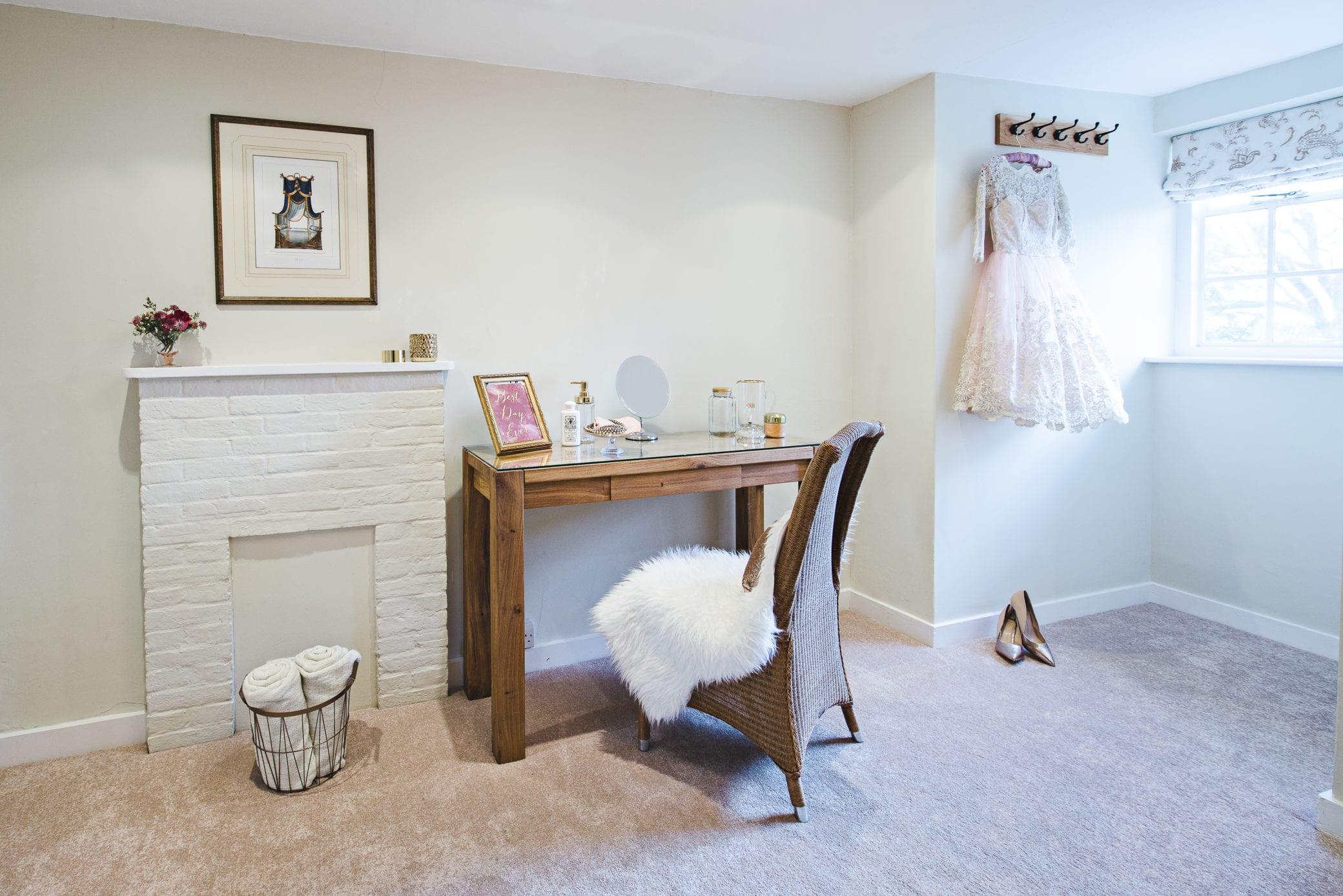 Bridal prep room at Farnham Castle in Surrey
