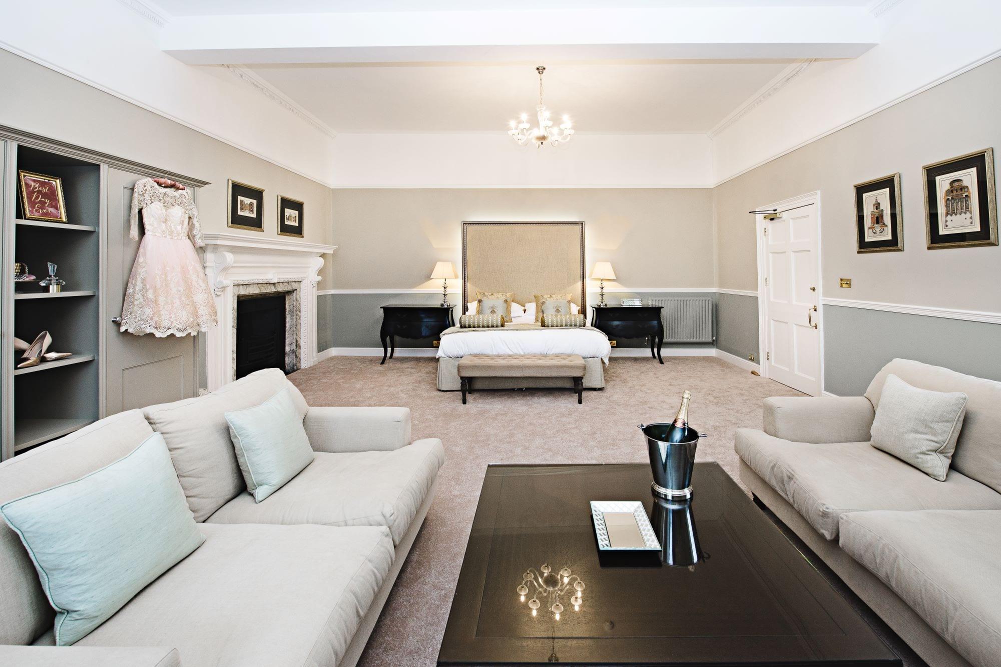 Luxurious wedding night bedroom at Farnham Castle in Surrey