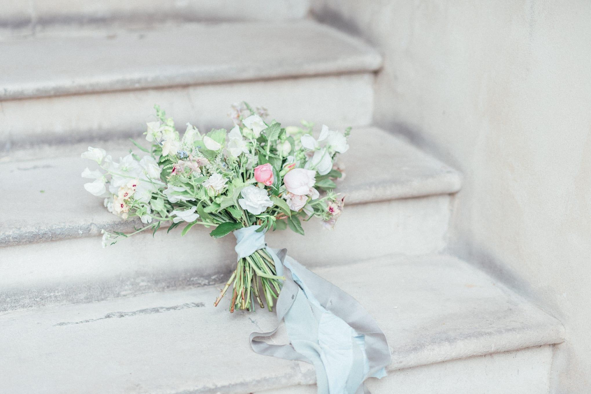 Pastel wedding flowers hand tied