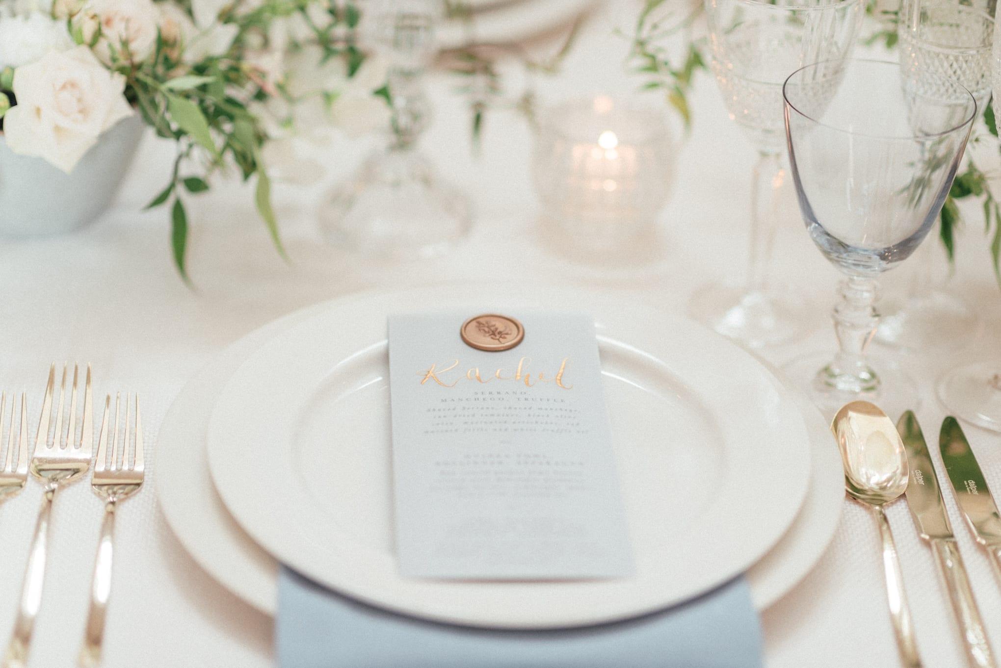Powder blue place setting at a wedding