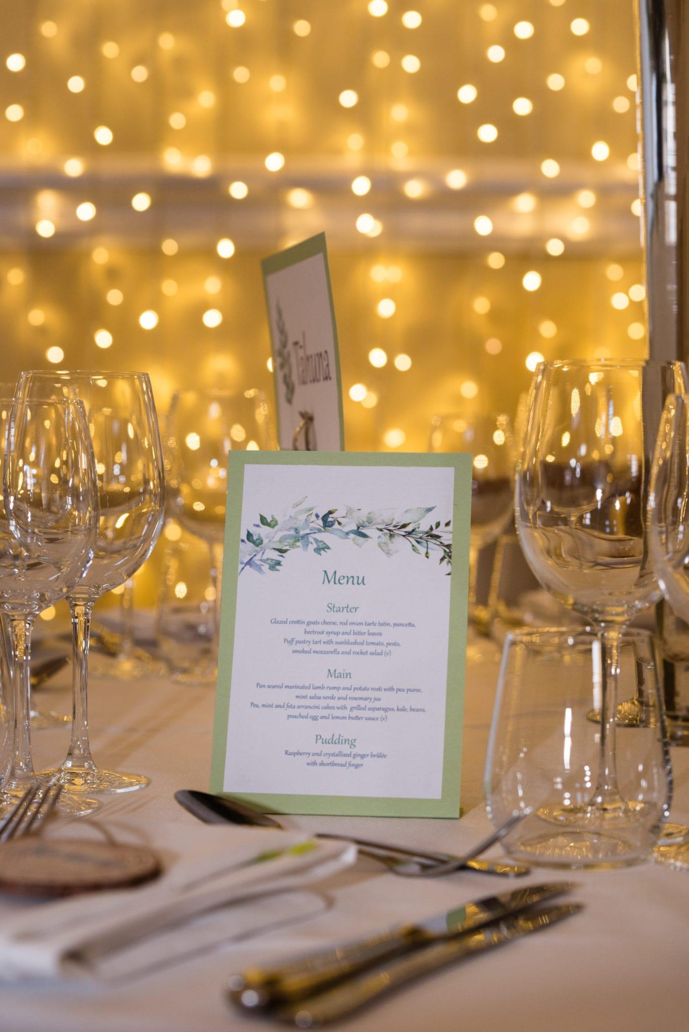 Pretty wedding menu idea at Farnham Castle in Surrey