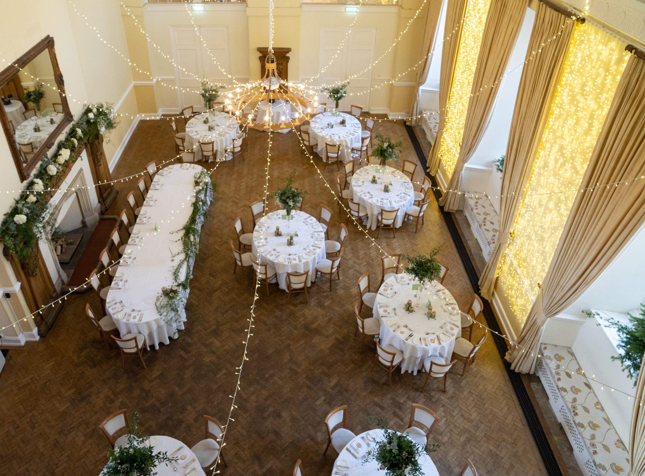 Spacious wedding reception room at Farnham Castle in Surrey
