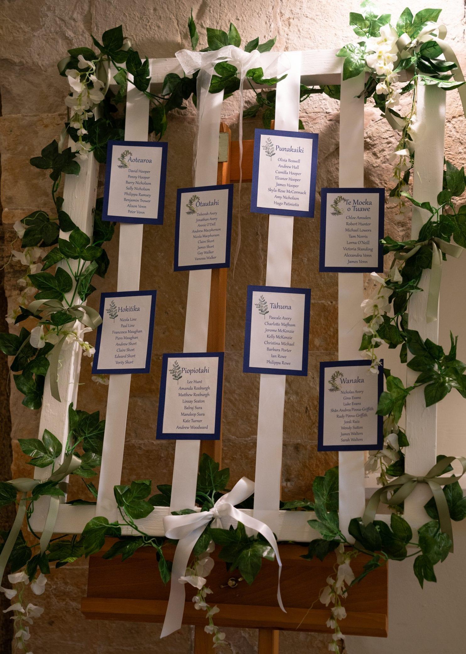 Handmade wedding table plan idea at Farnham Castle in Surrey