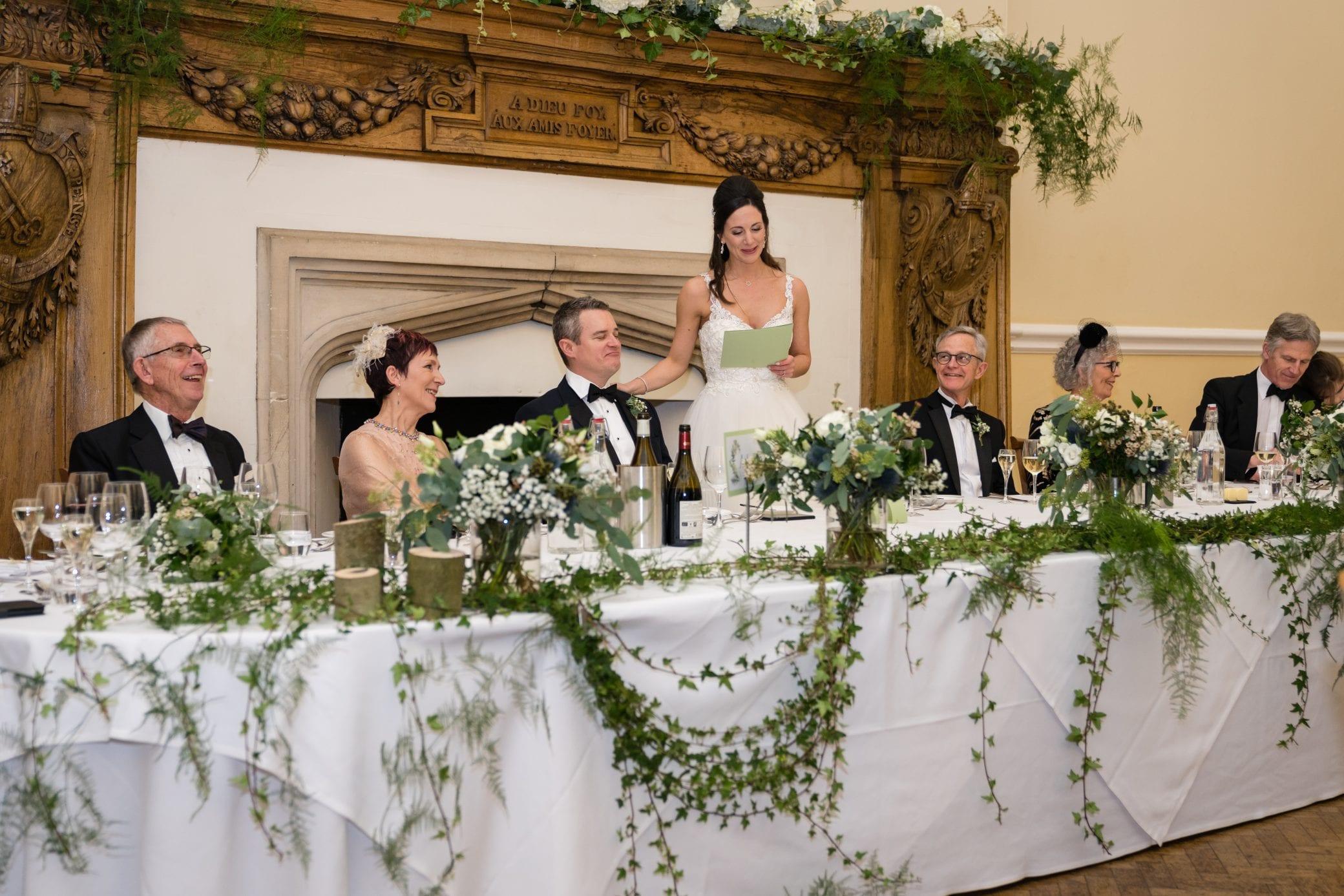 Top table wedding decor at Farnham Castle in Surrey