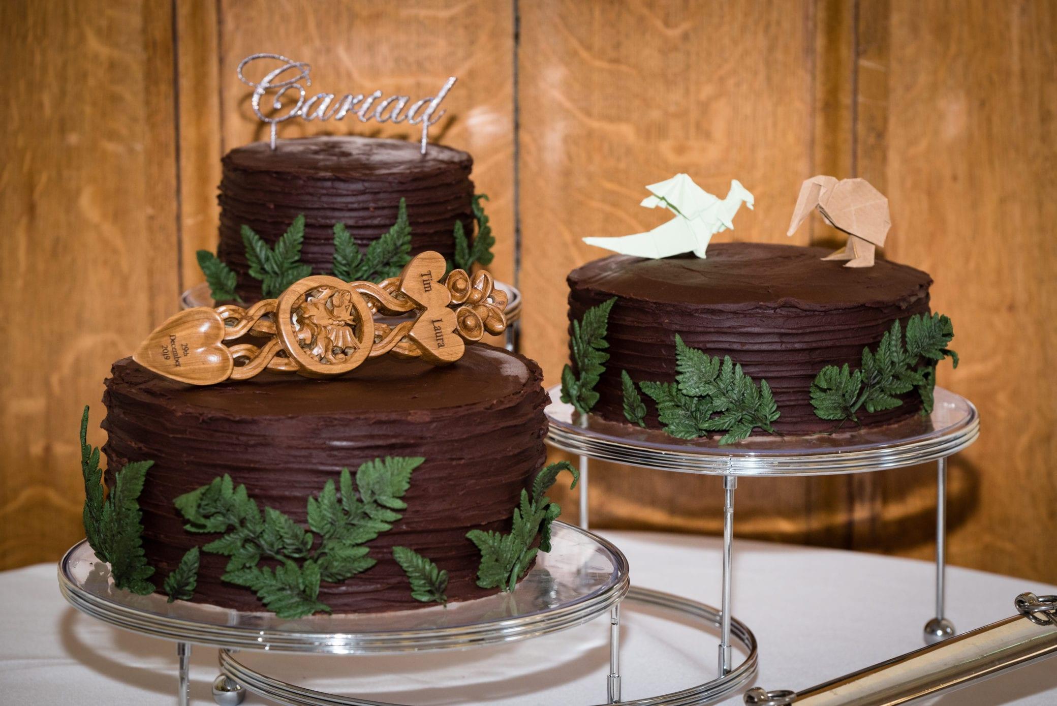 Chocolate wedding cake ideas at Farnham Castle in Surrey