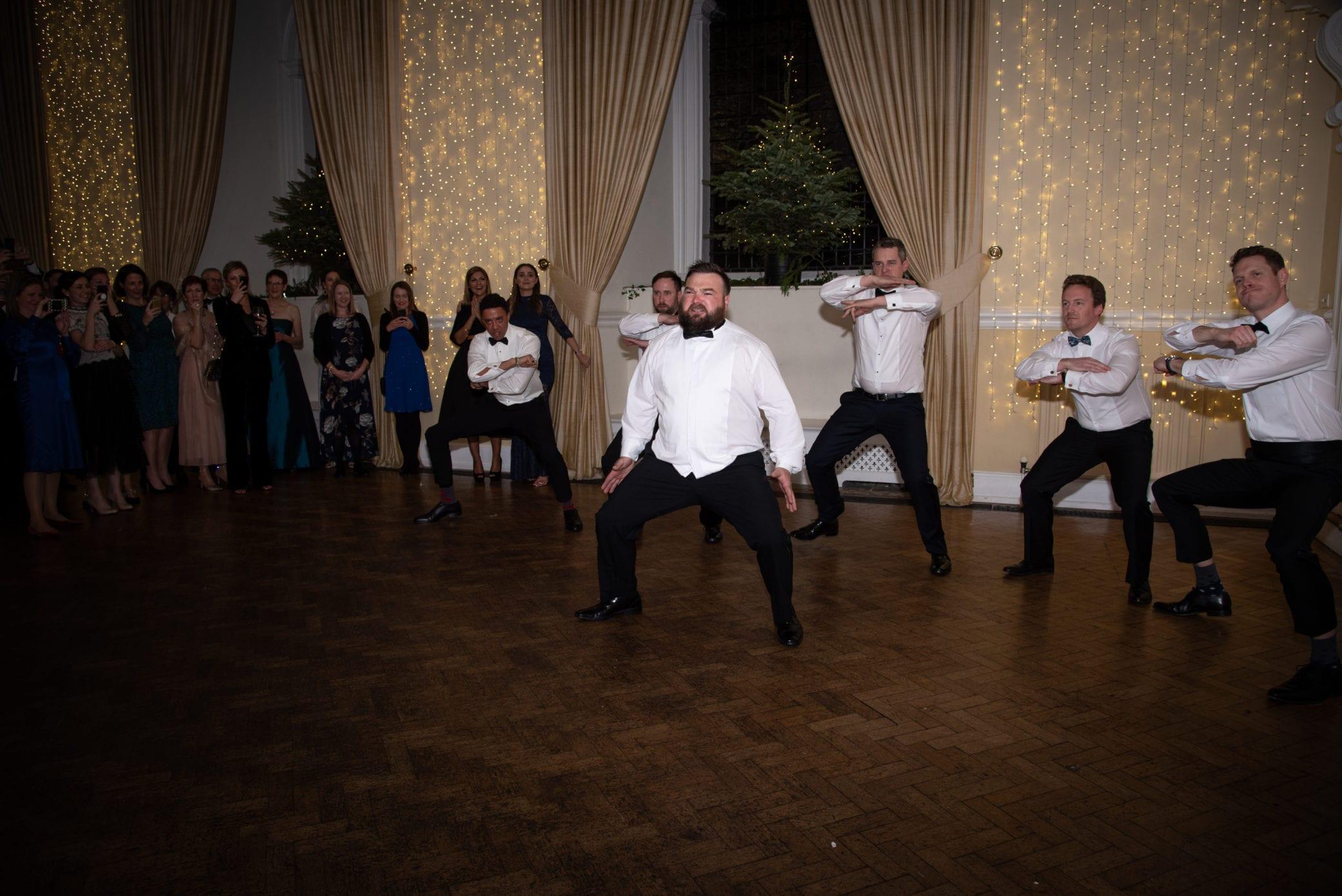 Haka dance at a Farnham Castle Surrey wedding