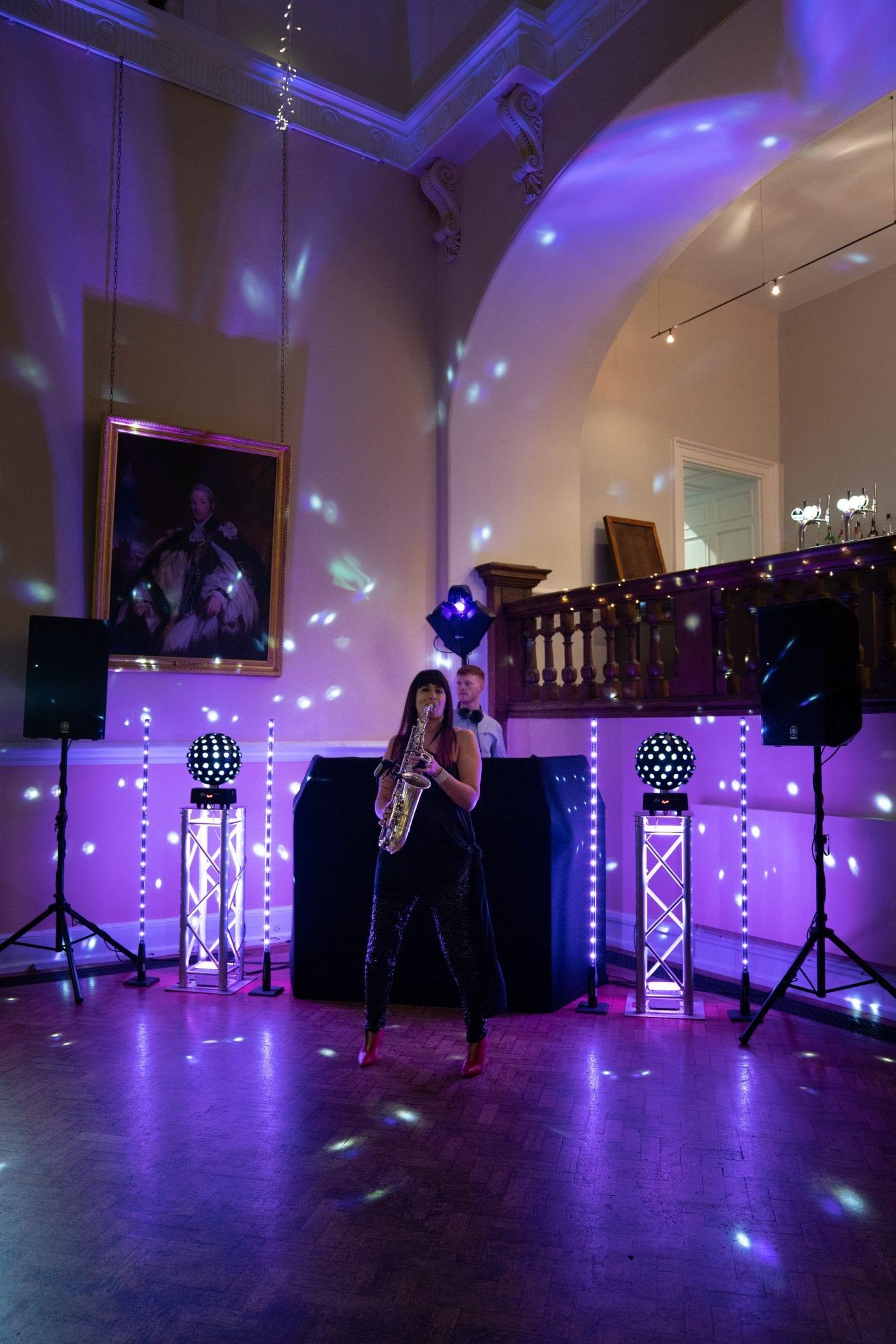 Party lighting at Farnham Castle in Surrey