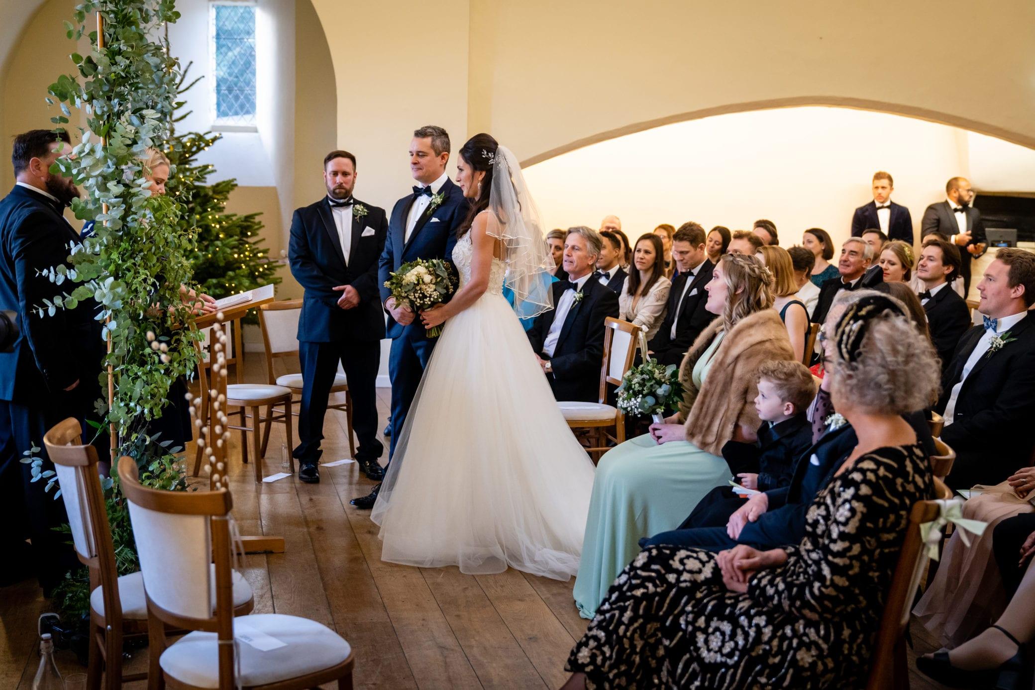 Wedding ceremony room at Farnham Castle near London