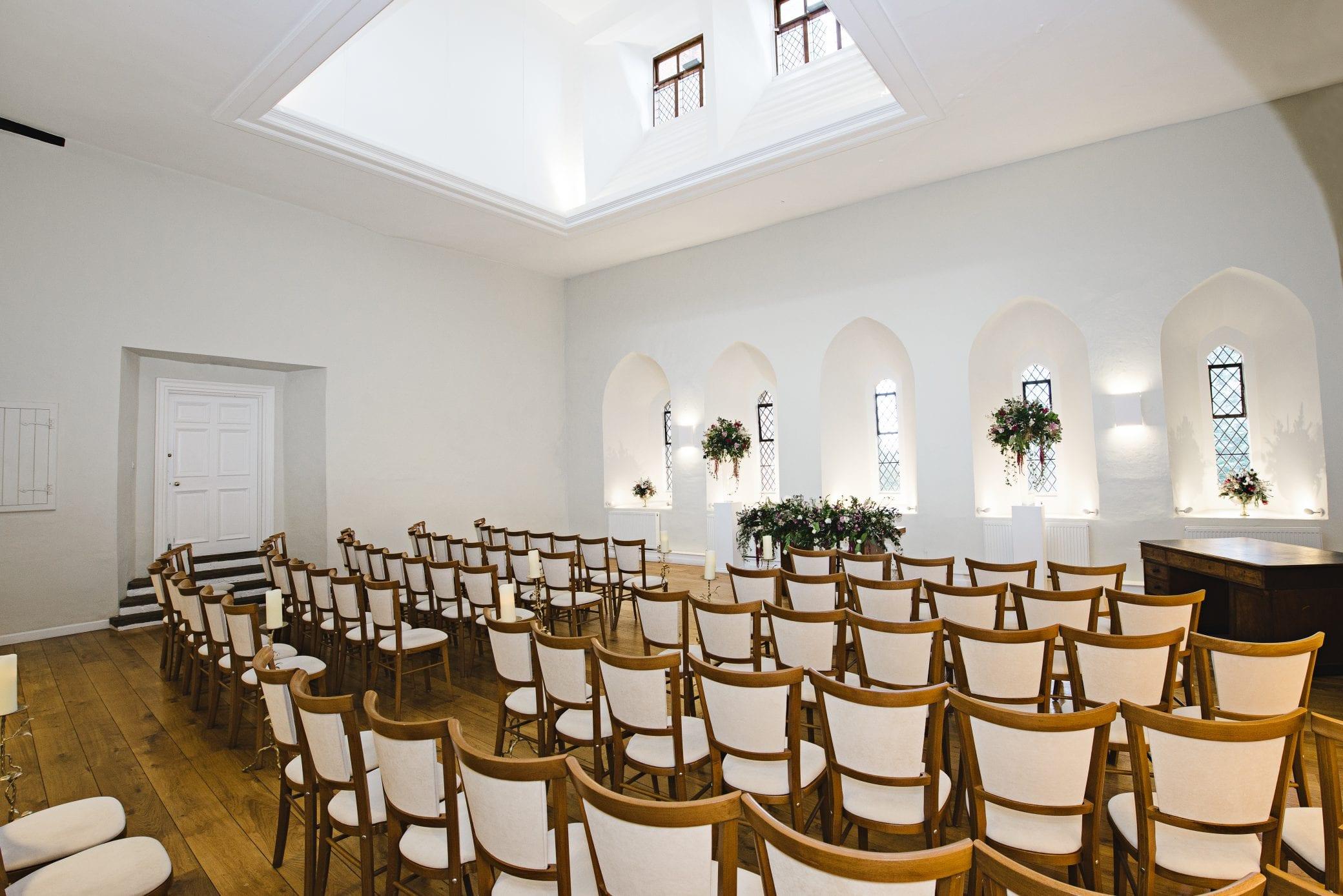 Wedding ceremony room at Farnahm Castle in Surrey
