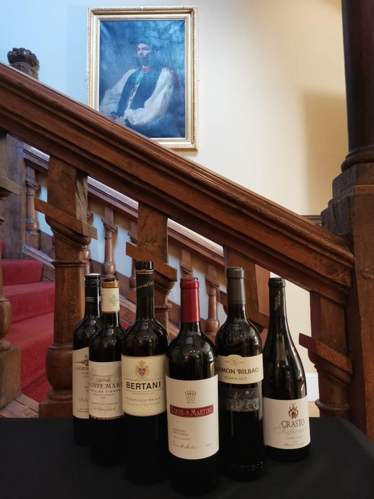 Red wines at Farnham Castle in Surrey