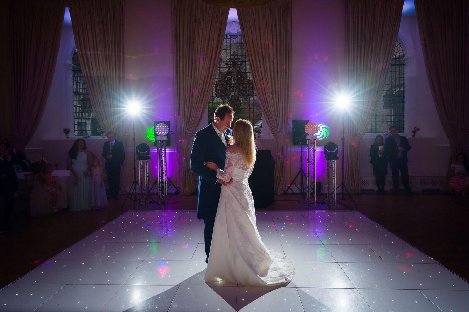White dance floor at Farnham Castle