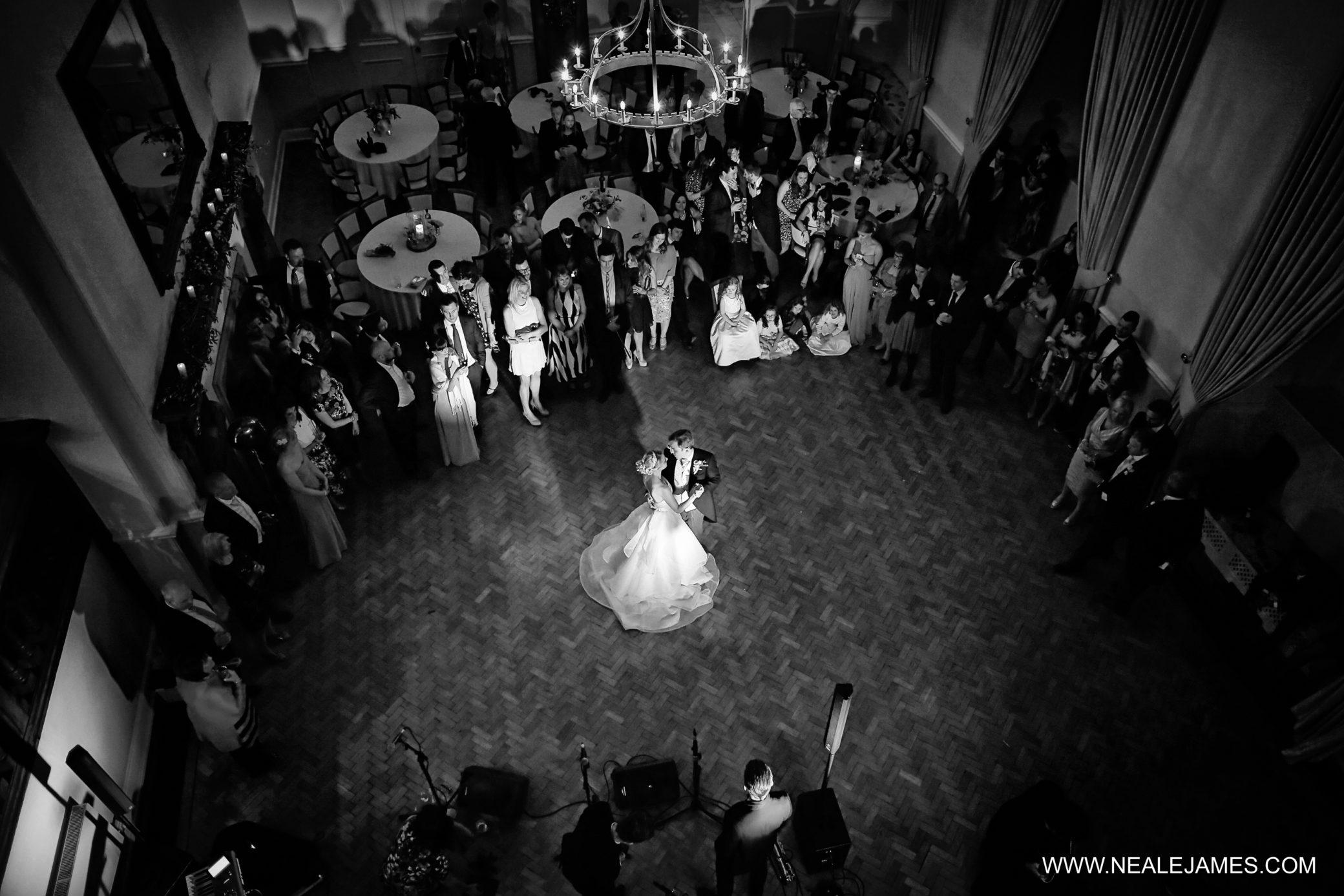 Evening wedding reception at Farnham Castle in Surrey