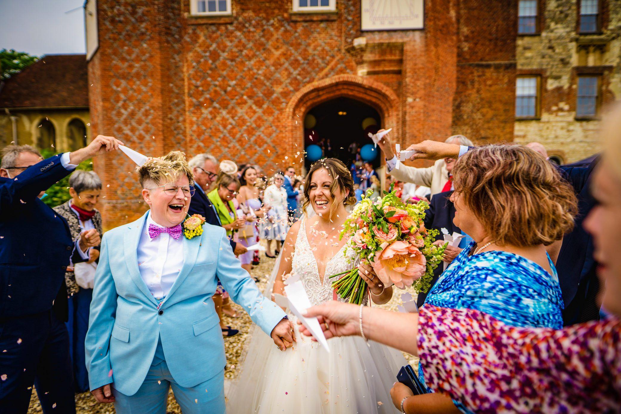 Newlyweds at Farnham Castle