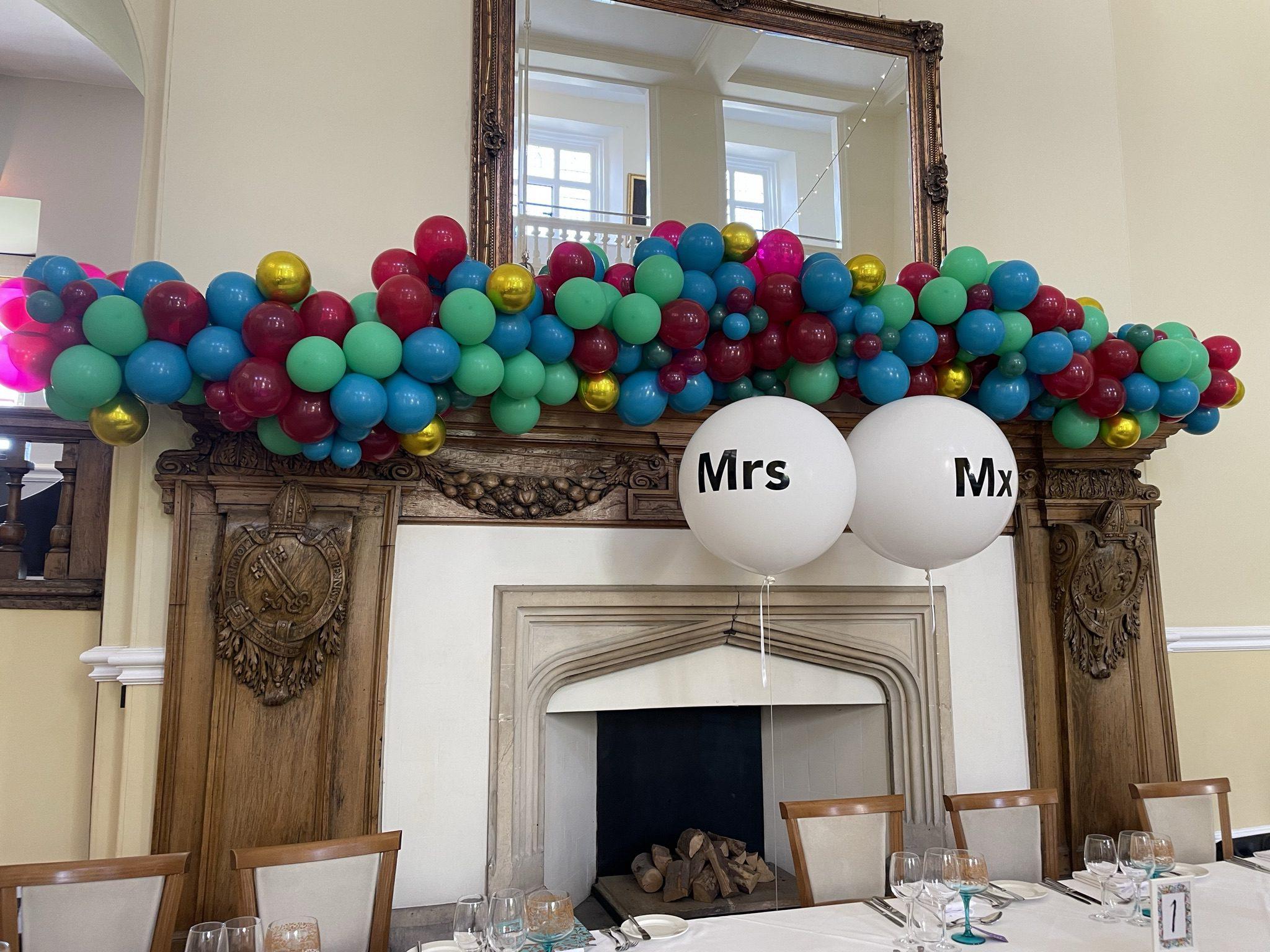 Wedding balloon display idea at Farnham Castle